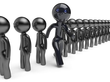 differ: Unique different character man stand out from the crowd people think differ person otherwise run to new opportunities concept individuality referendum vote icon black 3d render isolated Stock Photo
