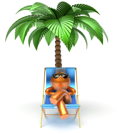 chaise: Chilling beach deck chair man cartoon character relaxing palm tree sunglasses summer comfort stylized golden person sun lounger chaise lounge tourist sunbathing rest vacation holiday icon 3d render Stock Photo