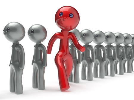 stand out: Different people stand out from the crowd run to new opportunities individuality character red unique man think differ person otherwise concept human confidence trust vote icon. 3d render isolated Stock Photo