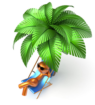 comfort: Relaxing chilling man character palm tree beach deck chair sunglasses summer comfort stylized golden cartoon person sun lounger chaise lounge tourist sunbathing rest vacation holiday icon 3d render