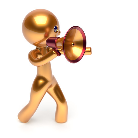 guy person: Man speaking megaphone golden character making sale announcement news stylized human cartoon guy speaker person communication people shout figure icon concept 3d render isolated