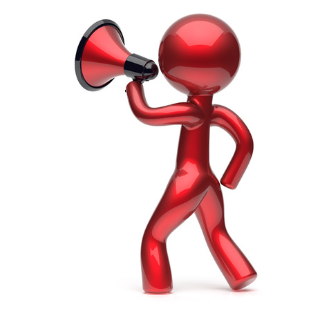 communication cartoon: Megaphone character man promotion speaking stylized making sale advertisement announcement news red human cartoon guy speaker person communication people shout figure icon concept 3d render