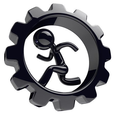 worker person: Runner man character inside gearwheel gear wheel businessman run rotate cogwheel stylized black human cartoon guy person worker gear wheel business career employment concept 3d render isolated Stock Photo
