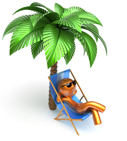 relaxing beach: Man character relaxing deck chair palm tree chilling beach sunglasses summer comfort stylized golden cartoon person sun lounger chaise lounge tourist sunbathing rest vacation holiday icon 3d render Stock Photo