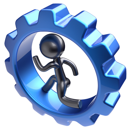 worker person: Man character human running inside gearwheel businessman run rotate cogwheel stylized cartoon guy hamster person worker blue gear wheel business career employment concept. 3d render isolated Stock Photo