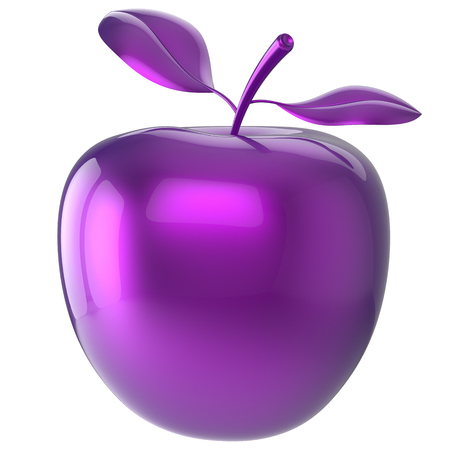 food poison: Purple apple blue research experiment food nutrition fruit antioxidant fresh ripe exotic danger poison anomaly unusual agriculture organic funny icon. 3d render isolated on white background