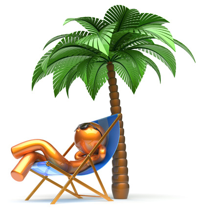 chaise lounge: Chilling man character palm tree relaxing beach deck chair sunglasses summer comfort stylized golden cartoon person sun lounger chaise lounge tourist sunbathing rest vacation holiday icon 3d render Stock Photo