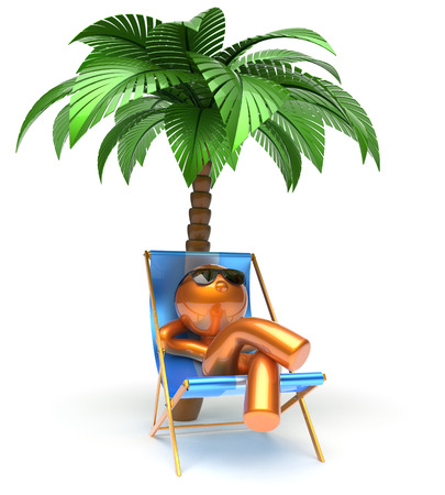 chaise lounge: Chilling man character palm tree relaxing beach deck chair sunglasses summer comfort stylized golden cartoon person sun lounger chaise lounge tourist sunbathing rest vacation outdoor icon 3d render