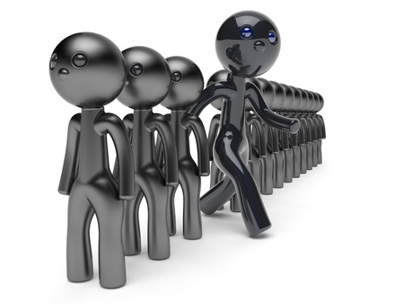 differ: Stand out from the crowd character different people man black think differ unique person otherwise run to new opportunities concept individuality referendum vote icon 3d render isolated