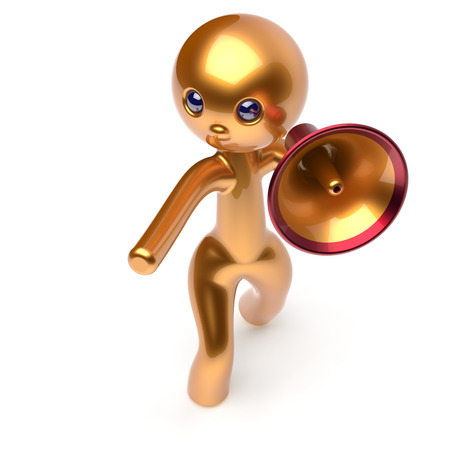 announcement icon: Man speaking megaphone promotion character making sale advertisement announcement news golden stylized human cartoon guy speaker person communication people shout figure icon concept 3d render