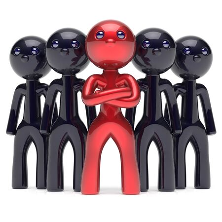 management team: Teamwork leadership boss stylized red character leader black men crowd businessman team leader individuality five cartoon persons icon social relationship friends concept 3d render isolated