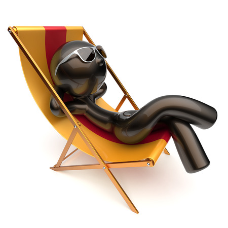 outdoor chair: Man chilling stylized relaxing carefree beach deck chair sunglasses summer outdoor comfort cartoon black character sun lounger chaise lounge sunbathing rest vacation holiday icon 3d render isolated