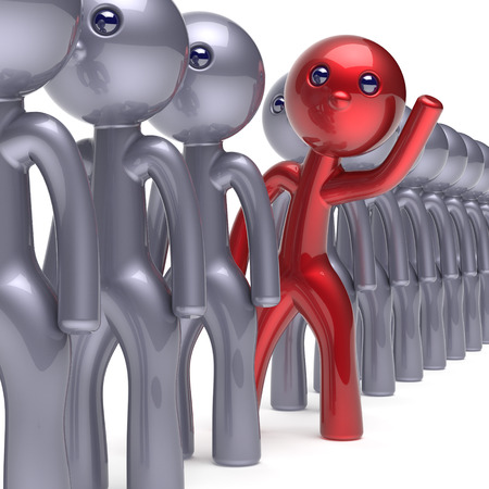 differ: Individuality character stand out from the crowd man stylized different people unique red think differ person otherwise hello to new opportunities concept human resources hr icon 3d render isolated Stock Photo