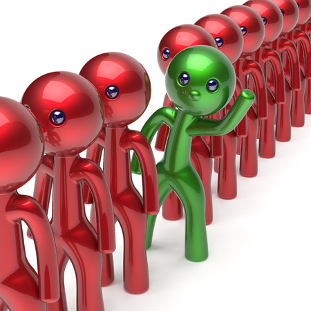 green: Man different people character stand out from the crowd unique individuality green think differ person otherwise welcome to new opportunities concept human resources hr icon. 3d render isolated Stock Photo