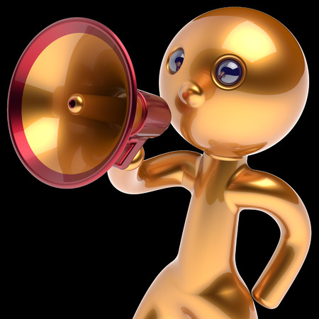 communication cartoon: Man megaphone character making announcement golden stylized human cartoon guy person speaking people communication speaker figure news icon concept 3d render isolated on black background