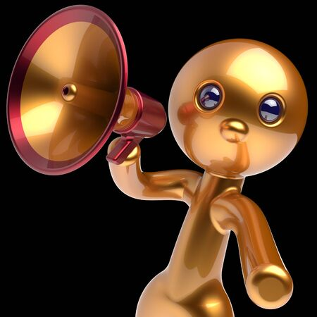 communication cartoon: Man megaphone character making announcement golden stylized human cartoon guy person speaking people communication speaker figure news icon concept 3d render isolated