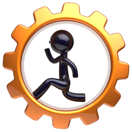 worker person: Man character inside gearwheel running businessman rotate cogwheel stylized black human cartoon guy hamster person worker gear wheel business career employment hard job concept. 3d render isolated Stock Photo