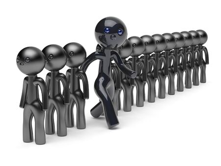 differ: Different man stand out from the crowd character people think differ unique person otherwise run to new opportunities concept individuality referendum vote icon black 3d render isolated