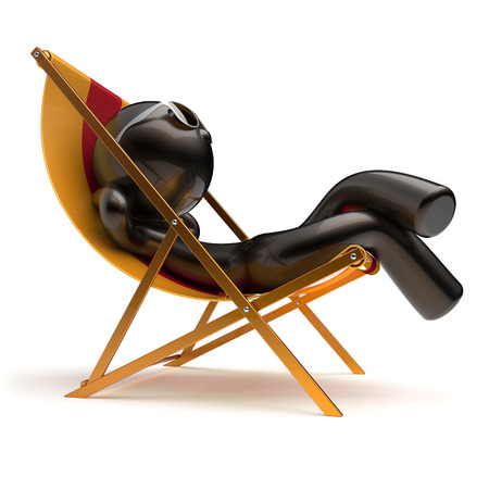 sunburn: Chilling man summer relaxing carefree sunburn beach deck chair sunbathing sunglasses comfort cartoon stylized black character sun lounger chaise lounge tourist person vacation harmony icon 3d render
