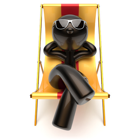 carefree: Man relaxing chilling beach deck chair carefree sunburn sunglasses summer comfort cartoon stylized black character sun lounger chaise lounge tourist person sunbathing vacation harmony icon 3d render