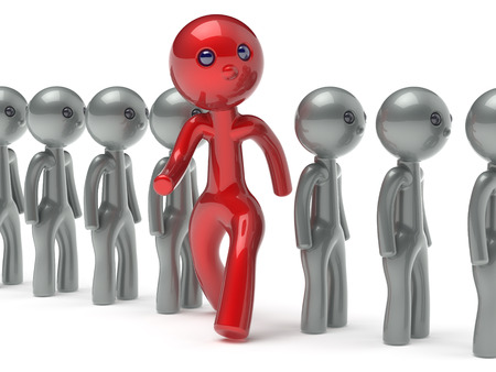 differ: Different people man character individuality red stand out from the white crowd unique think differ person otherwise run to new opportunities concept referendum vote icon 3d render isolated