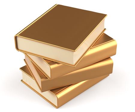 Boeken leerboeken stapel goud blanco geel gouden handleiding faq. School bestuderen van informatie-inhoud leren vraag antwoord pictogram concept. 3d geef geïsoleerd op witte achtergrond terug