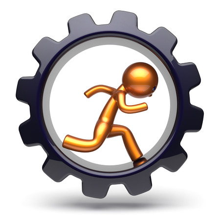worker person: Gear wheel man character running inside gear wheel business hard work stylized golden human cartoon guy person worker black cogwheel businessman career employment job concept. 3d render isolated
