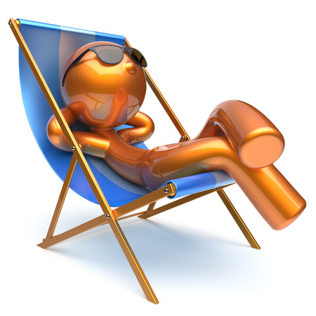 outdoor chair: Man carefree relaxing chilling beach deck chair sunglasses summer outdoor comfort cartoon stylized golden character sun lounger chaise lounge sunbathing rest vacation holiday icon 3d render isolated Stock Photo