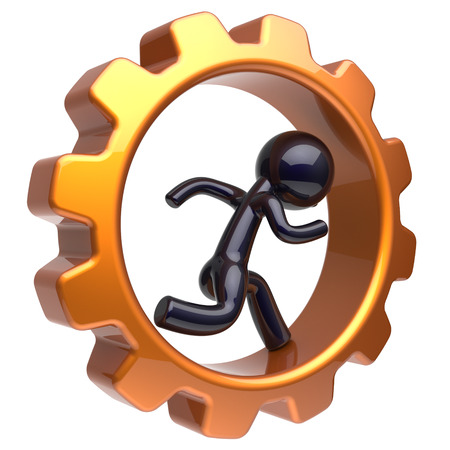 gearwheel: Gearwheel man character running inside gear wheel businessman rotate cogwheel stylized black human cartoon guy hamster person worker business activity employment job concept. 3d render isolated Stock Photo