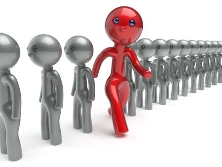 run out: Stand out from the crowd individuality man different character people red think differ unique person otherwise run to new opportunities concept referendum vote icon 3d render isolated