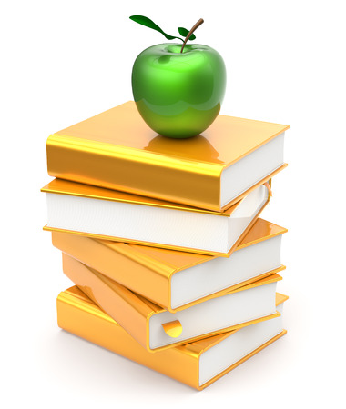 golden apple: Books stack golden yellow textbooks apple green education studying reading learning school college knowledge literature idea icon concept. 3d render isolated on white