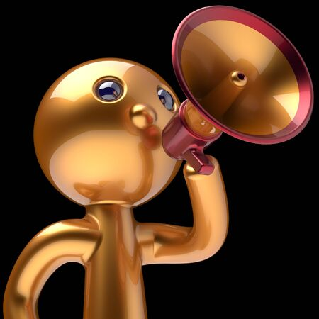 communication cartoon: Man megaphone character making sale announcement golden stylized human cartoon guy person speaking people communication speaker figure news icon concept 3d render isolated