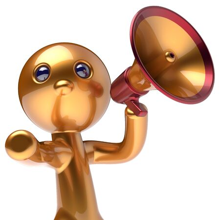 attention: Man promotion speaking megaphone character stylized making sale advertisement announcement news golden human cartoon guy speaker person communication people shout figure icon concept 3d render
