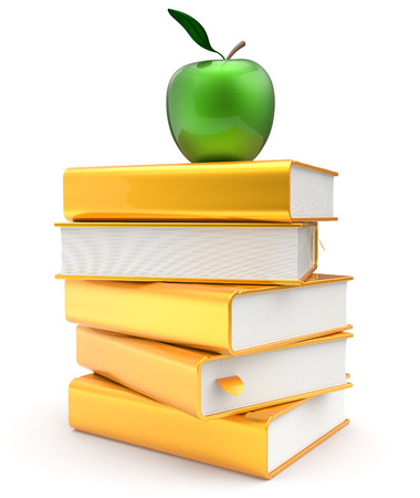 literatures: Books stack golden yellow textbook covers green apple education studying reading learning school college knowledge literature story icon concept. 3d render isolated on white