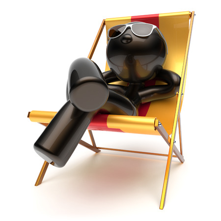 sunburn: Chilling man relaxing carefree sunburn beach deck chair sunglasses summer comfort cartoon stylized black character sun lounger chaise lounge tourist person sunbathing vacation harmony icon 3d render