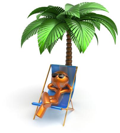 arboles de caricatura: Personaje de dibujos animados cubierta de la playa escalofriante hombre silla de descanso de palma comodidad gafas de sol verano árbol estilizado persona oro chaise tumbona salón turística tomar el sol icono de vacaciones de vacaciones resto 3d