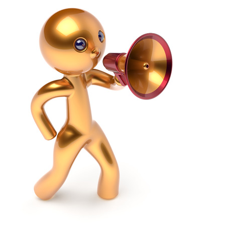 guy person: Man megaphone leader making news announcement character golden stylized human cartoon guy person speaking people communication speaker figure icon concept yellow 3d render isolated Stock Photo