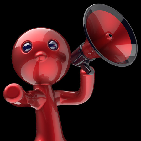 making an announcement: Man megaphone character making announcement red stylized human cartoon guy person speaking people communication speaker figure news icon concept 3d render isolated