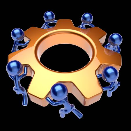 manpower: Gear wheel teamwork cogwheel business process team work men workers turning gearwheel together partnership manpower characters cooperation community make efficiency concept 3d render isolated on black