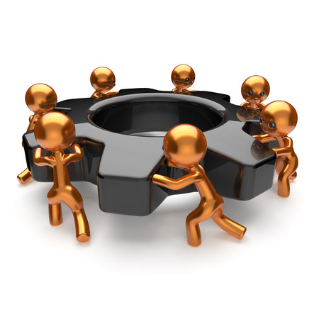 man power: Teamwork gearwheel cogwheel business process team work hard men human characters turning black gear wheel together partnership manpower cooperation assistance community concept 3d render isolated Stock Photo