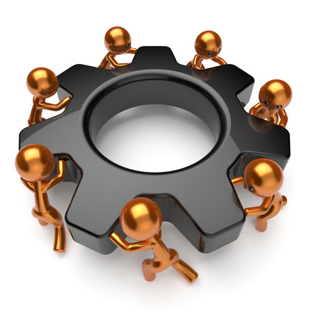 gearwheel: Teamwork business process workers turning cogwheel black gearwheel together partnership team cooperation relationship community make work efficiency concept. 3d render isolated on white Stock Photo
