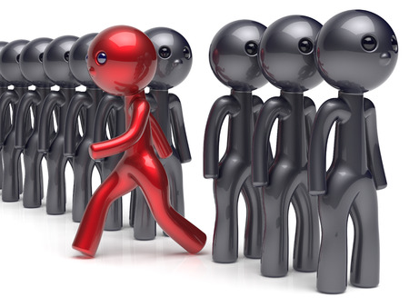 run out: Different unique people character stand out from the crowd individuality red man think differ person otherwise run to new opportunities concept confidence human trust vote icon. 3d render isolated Stock Photo