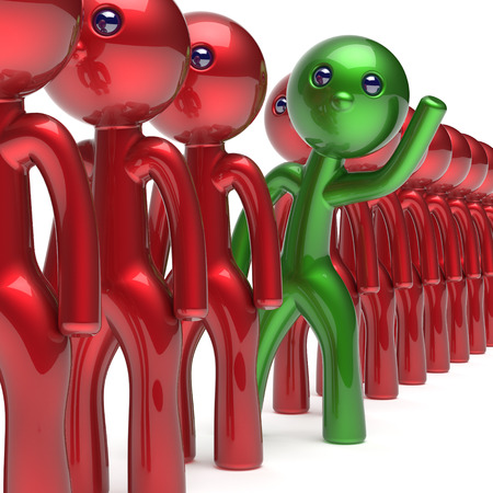 opportunity concept: Different man character trust stand out from the crowd people unique individuality green think differ person otherwise welcome to new opportunities concept human resources hr icon. 3d render isolated