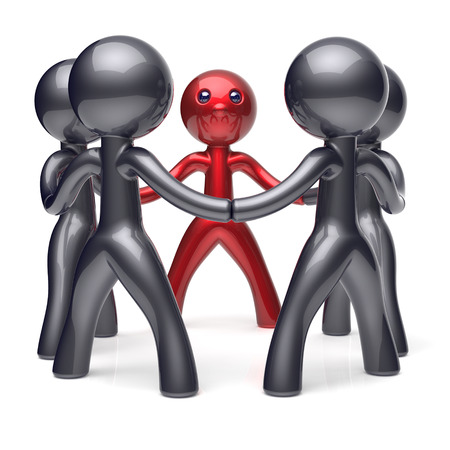social: Team work leader leadership men character teamwork circle people stylized social network human resources individuality friendship team cartoon friends unity meeting icon concept red black 3d render