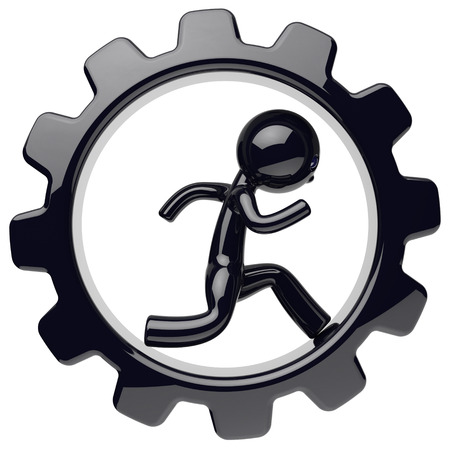to rotate: Man character work inside gearwheel black gear wheel businessman human run rotate cogwheel stylized cartoon guy person worker business process employment activity concept. 3d render isolated