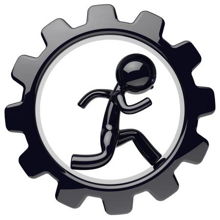 Man character work inside gearwheel black gear wheel businessman human run rotate cogwheel stylized cartoon guy person worker business process employment activity concept. 3d render isolated