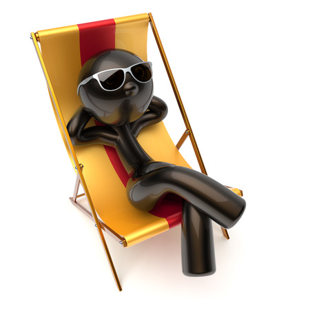 Man chilling relaxing beach deck chair carefree sunburn sunglasses summer comfort cartoon stylized black character sun lounger chaise lounge tourist person sunbathing vacation harmony icon 3d render Stock Photo