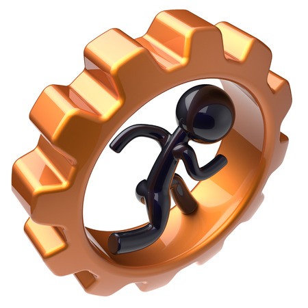 worker person: Gear wheel man character running inside gearwheel businessman rotate cogwheel stylized black human cartoon guy hamster person worker business activity employment job concept. 3d render isolated