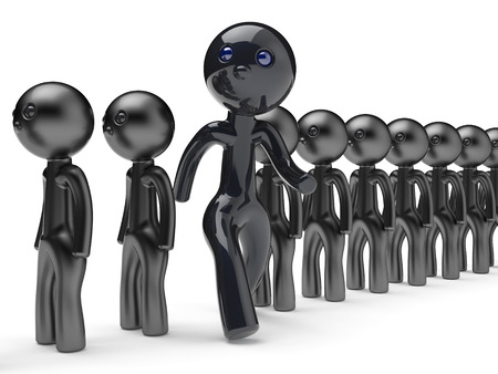 run out: Different people man stand out from crowd giant character black think differ unique person otherwise run to new opportunities concept individuality referendum vote icon 3d render isolated