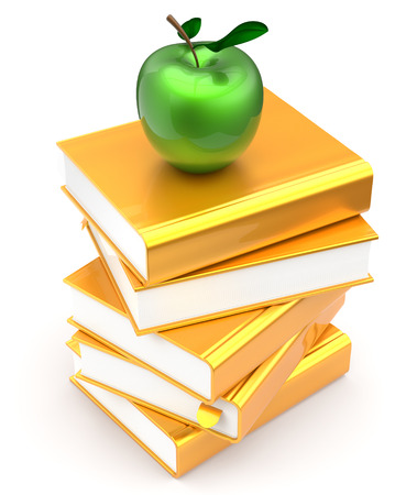 erudition: Gold books textbooks stack golden yellow apple green education studying reading learning school library knowledge literature idea icon concept. 3d render isolated on white